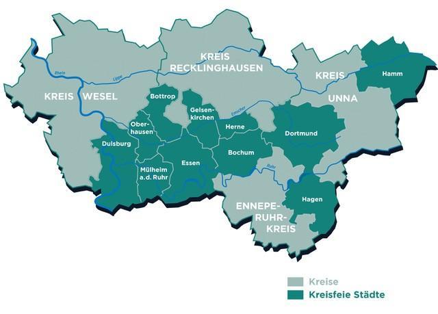 Karte Ruhrgebiet Städte.Regionalverband Ruhr Städte Und Kreise Der Metropole Ruhr