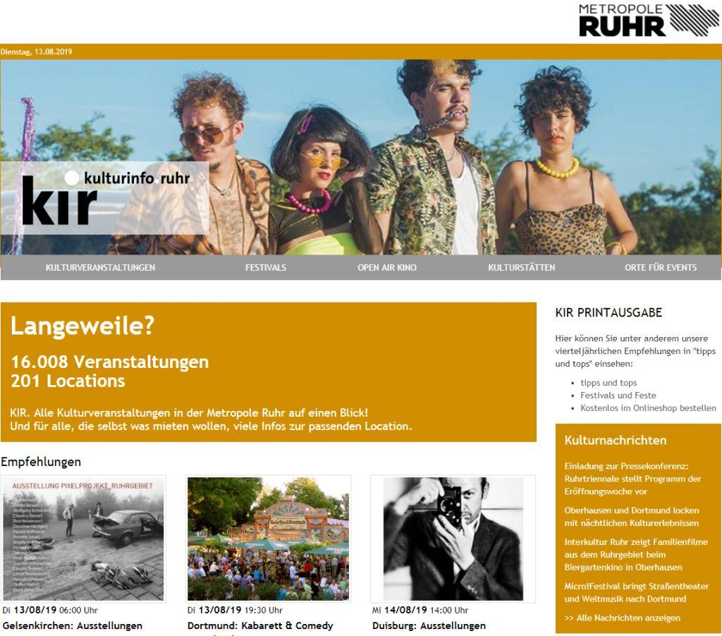 Screenshot - Internetseite Kulturinformationsdienst Ruhr (KIR) vom August 2019.